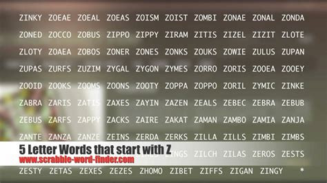 5 letter words scrabble 5 letter words that start with z