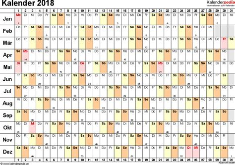 Kalender 2018 Querformat Zum Ausdrucken Kalender 2018 Zum Ausdrucken In Excel 16 Vorlagen