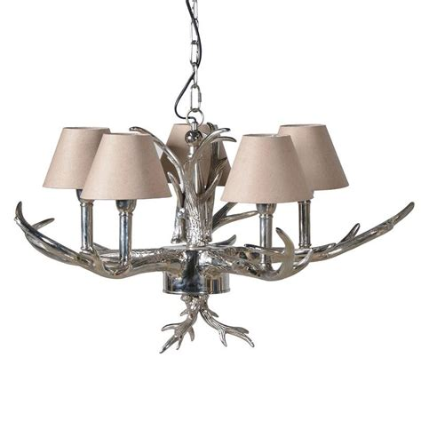 Small Silver L Shades by Silver Antler Chandelier With Small Shades Mulberry Moon