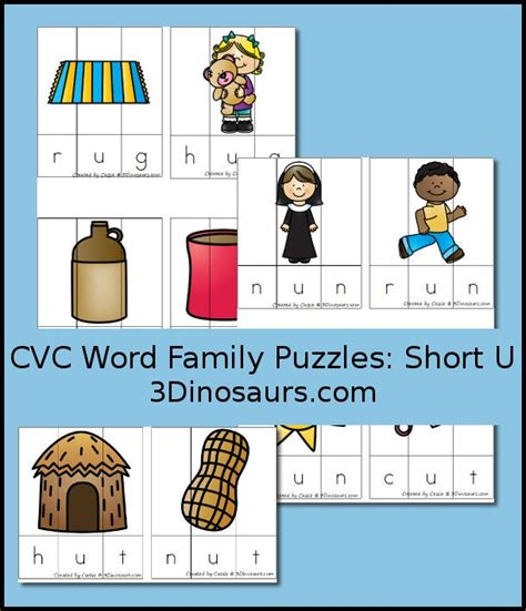 Cvc Word Family Worksheets by Free Cvc Word Family Puzzles U Ug Un Ut 3dinosaurs 3 Dinosaurs