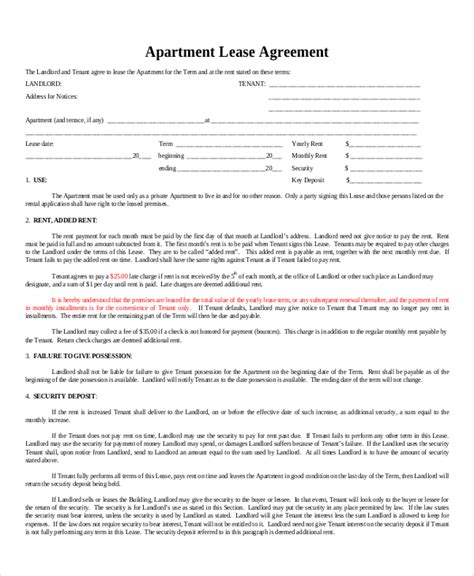 sle apartment lease agreement 8 exles in word pdf