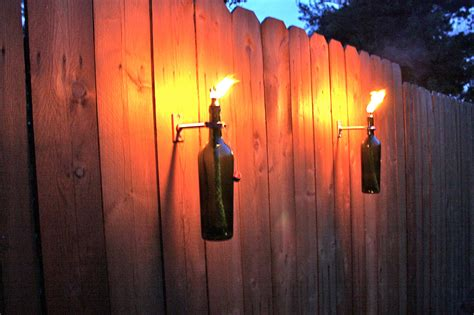 3 green wine bottle tiki torches outdoor lighting
