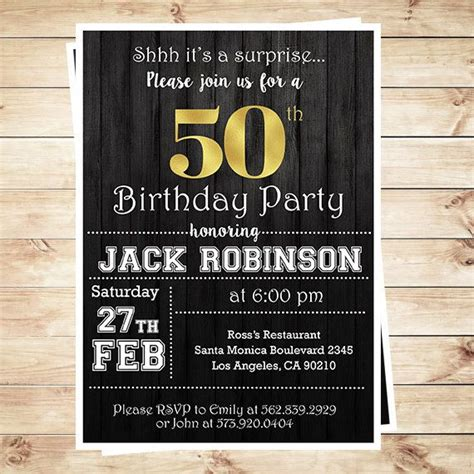 mens surprise  birthday party invitations