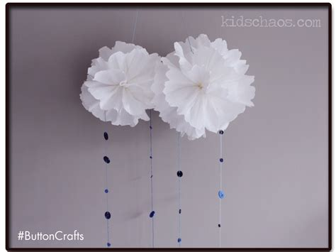 How To Make A Paper Cloud - button crafts pom pom clouds kidschaos
