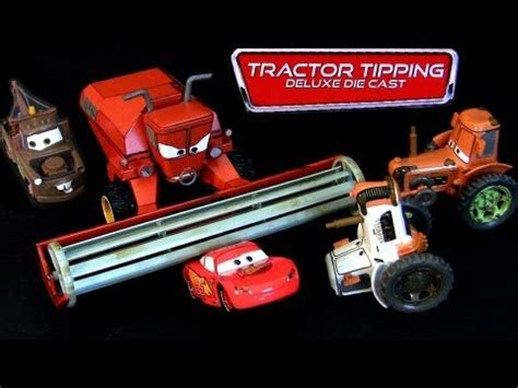 disney cars tractor tipping deluxe diecast set frank, 3