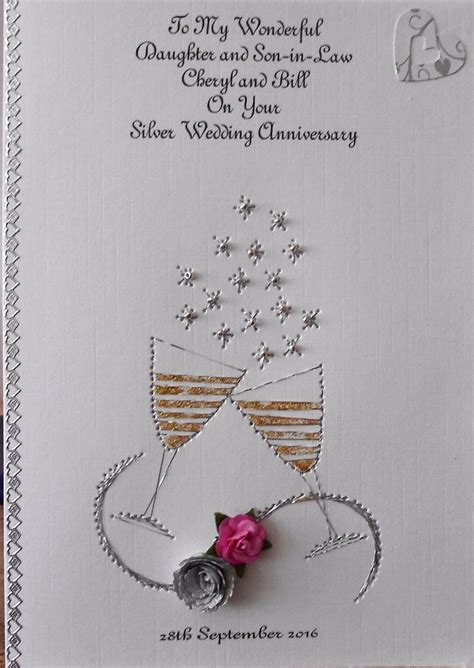Handmade Silver Wedding Anniversary Cards - personalised handmade wedding anniversary card 25th silver