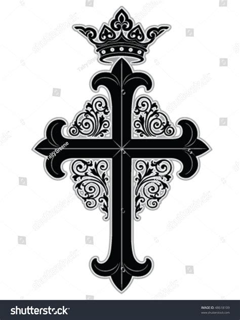 ornate cross tattoos cross crown ornate boarder stock vector 48618109