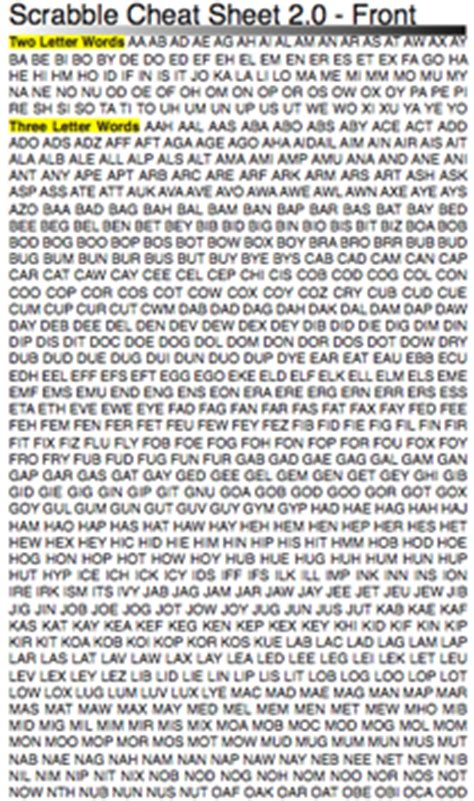 scrabble word lists pda scrabble sheet netninja