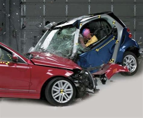 smart car collision test small car crash test study finds tiny cars score poorly
