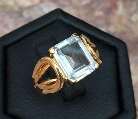 Ring Kotak 4 Cm Gold antique 18 kt gold ring decorated with an aquamarine of 1 cm x 8 mm catawiki