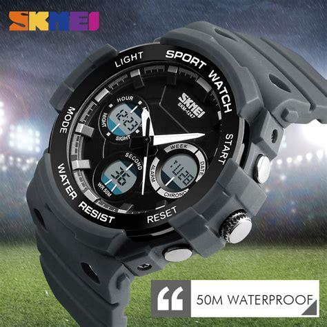 Jam Tangan Digital 5 skmei jam tangan digital analog pria ad1247 gray jakartanotebook