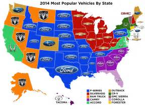 us map by brand the most popular new vehicle in each state not what you
