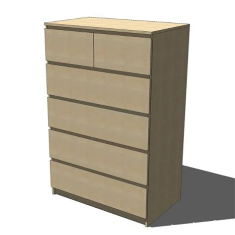 ikea malm drawers birch 3d model formfonts 3d models
