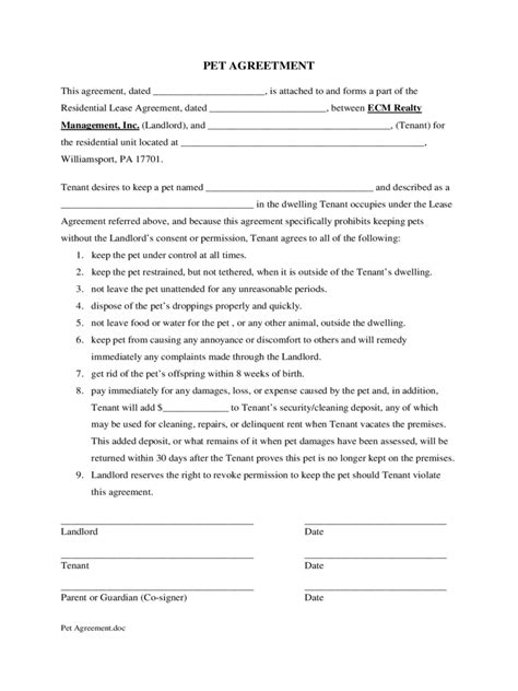 Pet Agreement Form 5 Free Templates In Pdf Word Excel Download Pet Contract Template