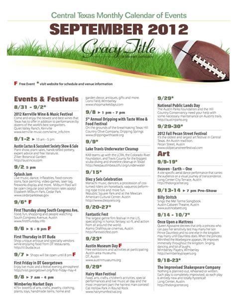 september austincentral texas calendar