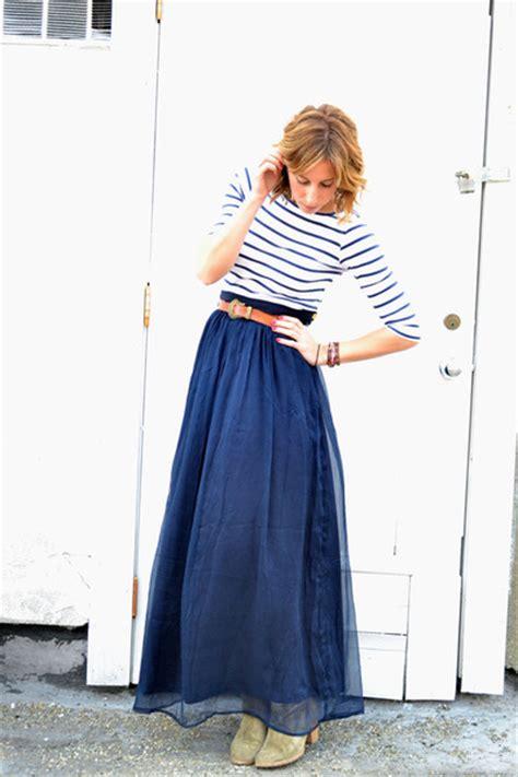navy maxi line dot skirts light brown madewell boots