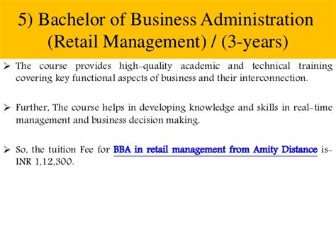 5 Year Bachelors And Mba by Amity Distance Learning List Of All Courses