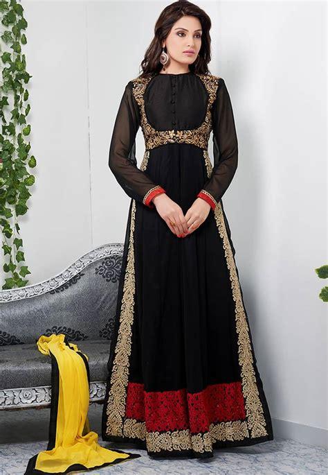 Indian Black Dress buy glamorous black color length georgette anarkali