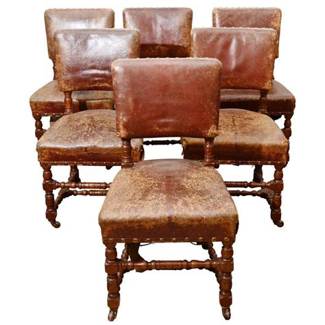set of six rustic leather chairs at 1stdibs