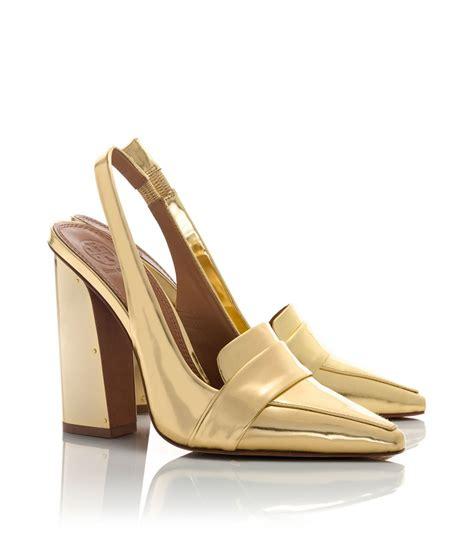 high heel slingbacks burch metallic high heel slingback in metallic