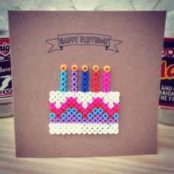 happy birthday hama perler bead card by make amp the craft