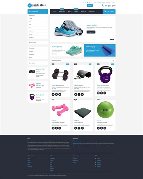 shopify themes store sports store free shopify template
