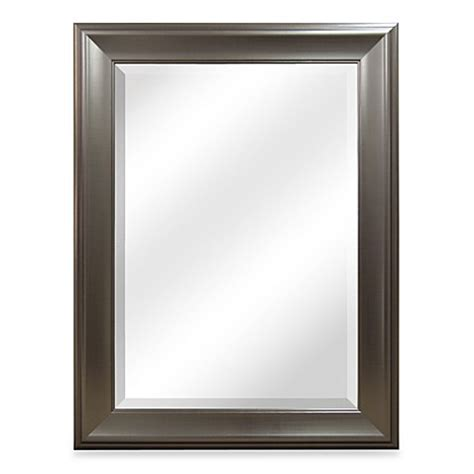 brushed nickel bathroom mirror buy bryce brushed nickel mirror from bed bath beyond