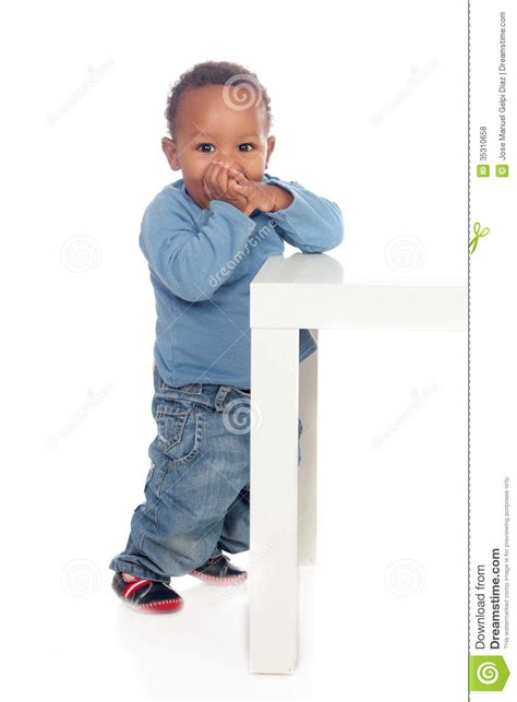baby standing table beautiful baby standig with a table royalty free