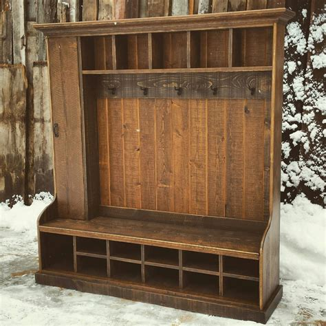 hall trees with bench rustic reclaimed hall tree locker bench by echopeakdesign