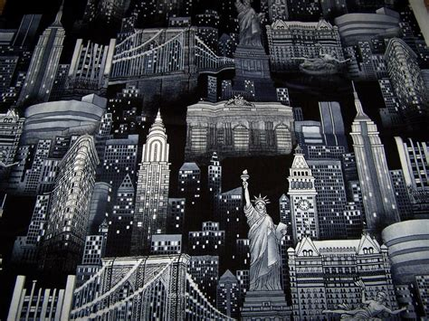 New York City Skyline Cotton Fabric Black And White Nyc