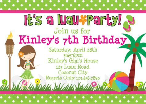 printable birthday invitations luau
