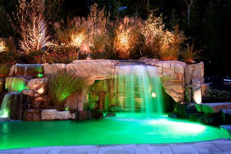 Waterfalls in the backyard pool home improvement home decor