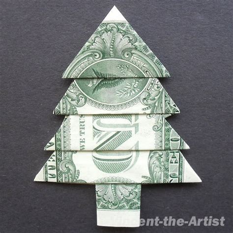 christmas tree money origami plant by vincent the artist