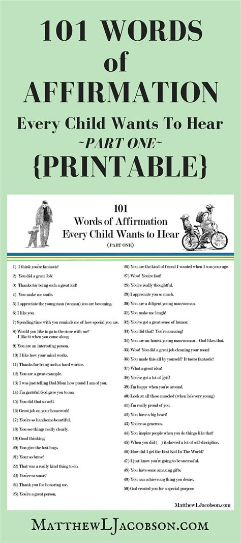 Parent Letter Of Affirmation 101 words of affirmation every child wants to hear with free printable matthew l jacobson