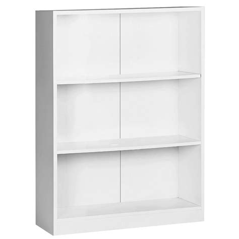 white bookcase 3 shelf bookcase white