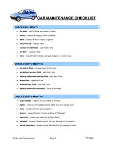 car maintenance checklist template car maintenance tips