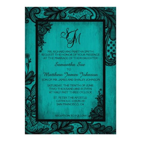 Rack Cards Purple And Teal Template by Teal Black Lace Wedding Invitation Card Zazzle