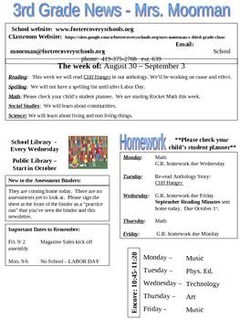 weekly newsletter template third grade by cindy moorman tpt