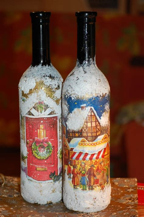 Decoupage Bottles - decoupage wine bottle decoupage