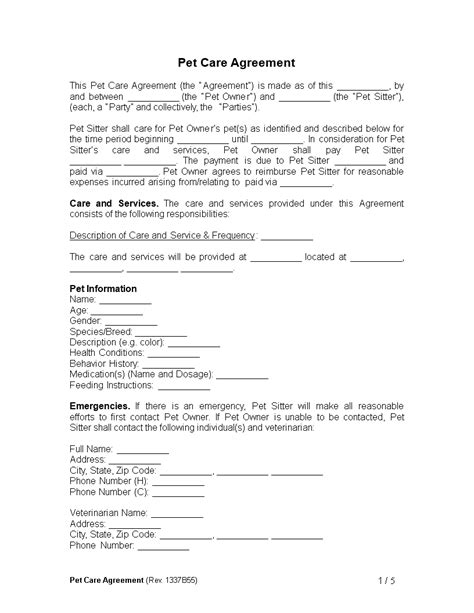 Free Pet Care Agreement Template Templates At Allbusinesstemplates Com Pet Agreement Template