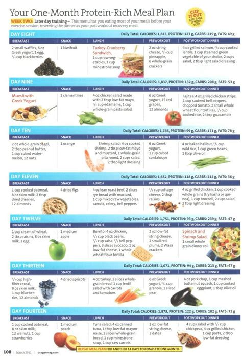 protein 9 month one month protein rick meal plan week two great ideas