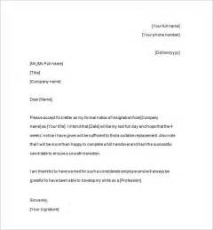 Resignation Letter At Notice Notice Of Resignation 11 Free Sles Exles Format Free Premium Templates
