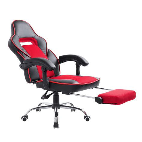 Office Chair With Built In Footrest by Homcom Race Car Style Pu Leather Heated Massaging Office Chair Black And Blue