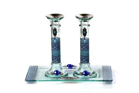 artistic shabbat candlesticks candlesticks with tray azure and blue arbel