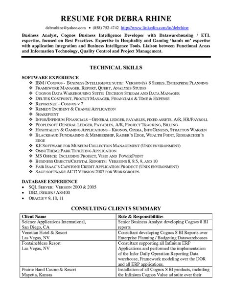 resume templates business analyst fresher free resume sle