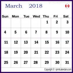 2018 Canada Calendar March 2018 Calendar Canada Templates Tools