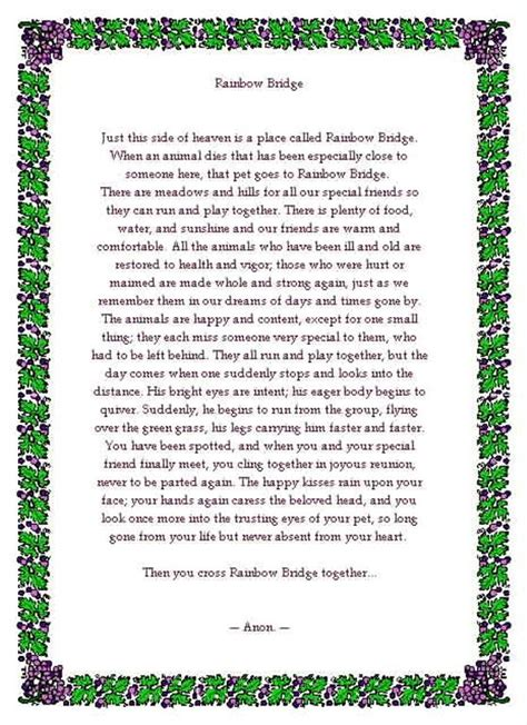 printable version of the rainbow bridge poem rainbow bridge printable copy related keywords rainbow
