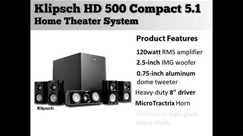 klipsch hd 500 compact 5 1 home theater system