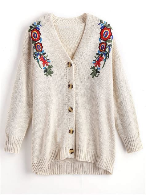 V Neck Floral Embroidered Cardigan button up floral embroidered v neck cardigan white