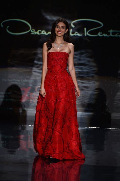 victoria justice red dress collection fashion show in